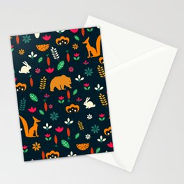 Cute little animals among flowers Stationery Cards