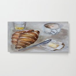 French breakfast, coffee and croissant, original oil painting, daily traditional art Metal Print