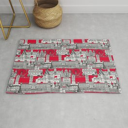 London toile red Rug
