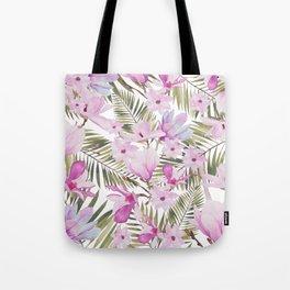 Tropical hand painted green magenta watercolor floral Tote Bag
