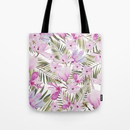 Tropical hand painted green magenta watercolor floral Tote Bag