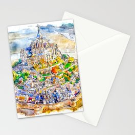 Mont Saint Michel France Watercolor Stationery Cards