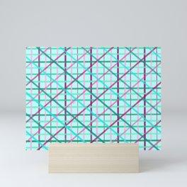 Blue and Rose Checkered Pattern Mini Art Print