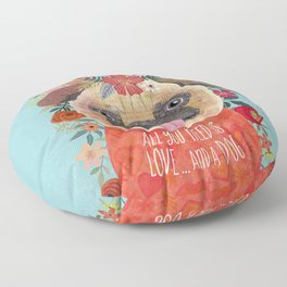Pug with flowers. Dog lovers Floor Pillow