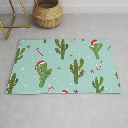Cactus With Colorful Light Bulb. Merry Christmas and Happy New Year Seamless Pattern Rug