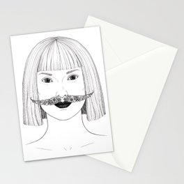 Lady with a floral moustache Stationery Cards