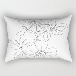 Floral one line drawing - Rose Rectangular Pillow