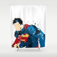 man of steel Shower Curtains featuring Man of Steel by ALmighty1080