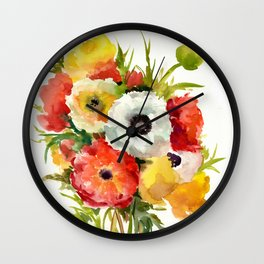 Flowers, Buttercups, orange red white yellow garden floral design Wall Clock