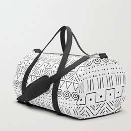 Mudcloth Style 1 in Black on White Duffle Bag