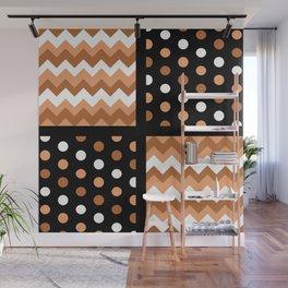 Black/Two-Tone Burnt Orange/White Chevron/Polkadot Wall Mural