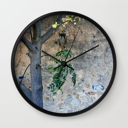Painted gunge wall and tree Wall Clock