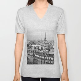 Paris Rooftops and the Eiffel Tower Unisex V-Neck