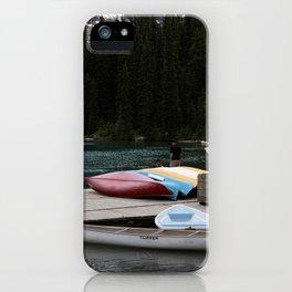Moraine Lake kayaks iPhone Case