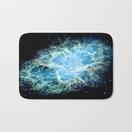 Crab Nebula : Aqua Teal Blue Galaxy Bath Mat
