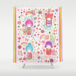 Lucky Kokeshi Dolls Shower Curtain