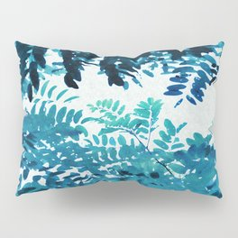Blue Frond Leaves on Graphic Textured White Background Pillow Sham