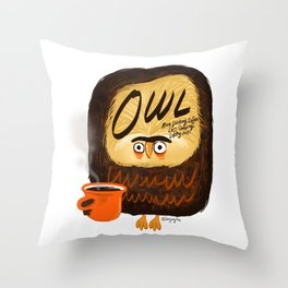 The owl is a coffeeholic. Throw Pillow