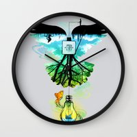dream catcher Wall Clocks featuring Dream Catcher by Enkel Dika