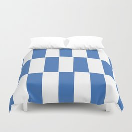 Modern royal blue and white trendy checker pattern Duvet Cover