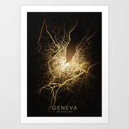 geneva Switzerland city night light map Art Print