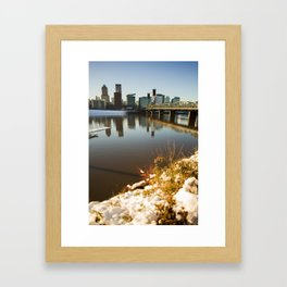 City Snow Fall on Downtown Portland Oregon Framed Art Print