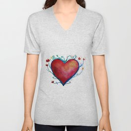 Love Red Heart Unisex V-Neck