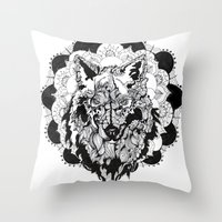 bad wolf Throw Pillows featuring Bad Wolf by Carina Maitch