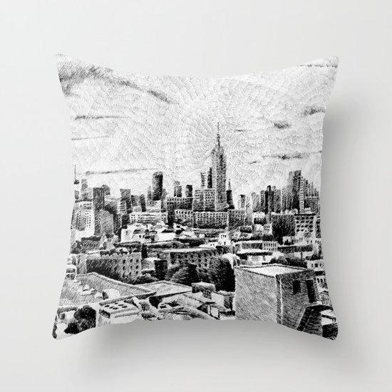 New York City - Fingerprint - Black ink Throw Pillow