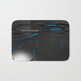 Black fractured surface with blue glowing lines Bath Mat