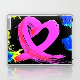 Pink Heart Ribbon (with Tie-Dye Blue-Yellow) for Breast Cancer Research by Jeffrey G. Rosenberg Laptop & iPad Skin