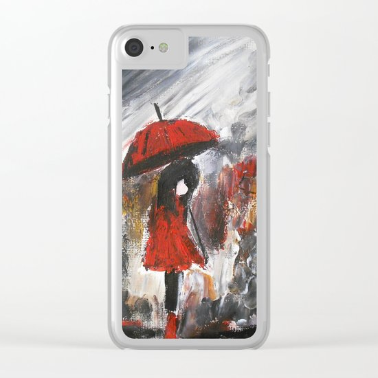 Girl In Red Raincoat Umbrella Rainy Day Fine Art Print Of Acrylic Painting Clear iPhone Case