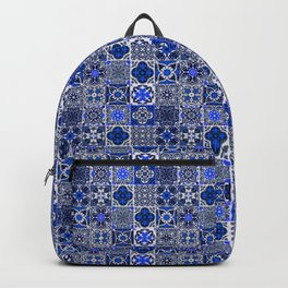 -A34- Blue Traditional Floral Moroccan Tiles. Backpack