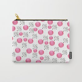 Modern pink watercolor dots black brushstrokes pattern Carry-All Pouch