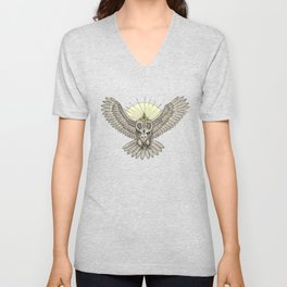 Mason Owl with skull, rule, compass and the eye that sees everything (tattoo style - color version) Unisex V-Neck