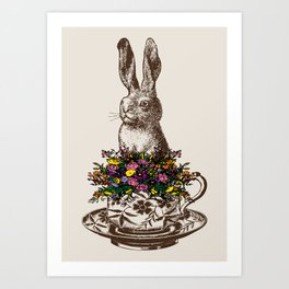 Rabbit in a Teacup | Rabbit and Flowers | Bunny Rabbits | Bunnies | Easter Rabbits | Hares | Art Print
