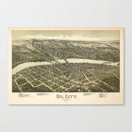 Aerial View of Oil City, Pennsylvania (1896) Canvas Print