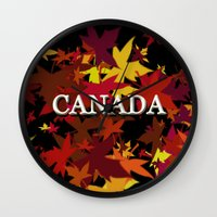 canada Wall Clocks featuring Canada by megghan18