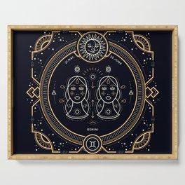Gemini Zodiac Gold White on Black Background Serving Tray