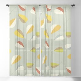 Mid Century Modern Graphic Leaves Pattern 1. Vintage green Sheer Curtain