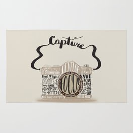 Cute Camera Typography Rug