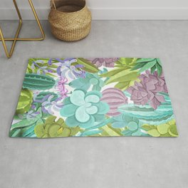 Tropical Cactus Pattern Rug