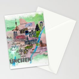Munich Map Travel Poster Overview Best Of Typical Highlights Stationery Cards