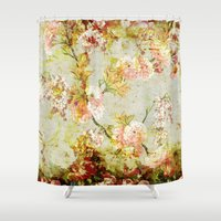 climbing Shower Curtains featuring climbing flowers by clemm