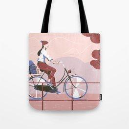 Biking to work Tote Bag