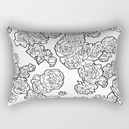 Peonies and Roses, Ink artwork Rectangular Pillow