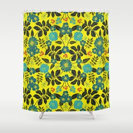 Bright Yellow, Red, Turquoise & Navy Blue Floral Pattern Shower Curtain