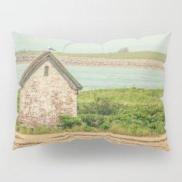 Little Beach House with Seagull Atop Pillow Sham