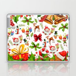 Holiday festive red green holly Christmas pattern Laptop & iPad Skin