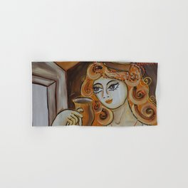 Portrait of a burlesque girl with mug brown painting by Ksavera Hand & Bath Towel